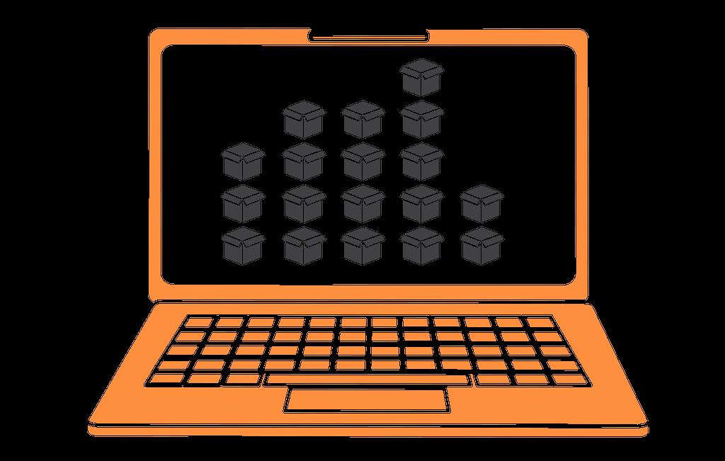 orange laptop stock
